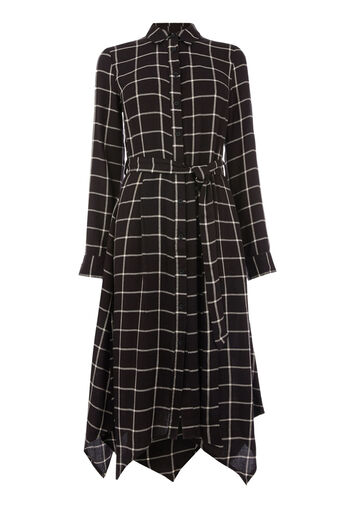 Warehouse, CHECK HANKY HEM SHIRT DRESS Black Pattern 0