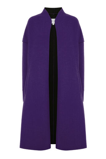 Warehouse, BONDED SWING COAT Dark Purple 0