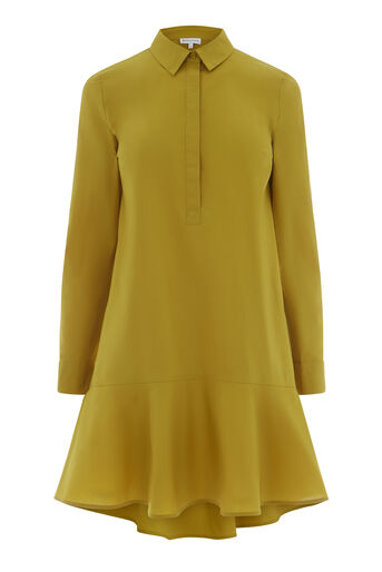 Warehouse, PEPLUM COTTON SHIRT DRESS Mustard 0