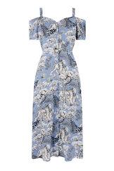 Warehouse, TIGER BUTTON THROUGH DRESS Blue Pattern 0