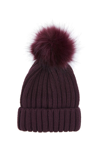 Warehouse, FAUX FUR POM HAT Berry 0