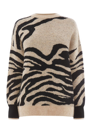 Warehouse, ZEBRA JACQUARD JUMPER Neutral  Print 0