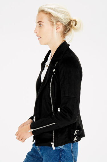 Warehouse, Suedette Biker Jacket Black 0