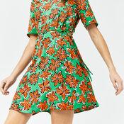 Warehouse, WOODBLOCK DAISY FLIPPY DRESS Green Print 1