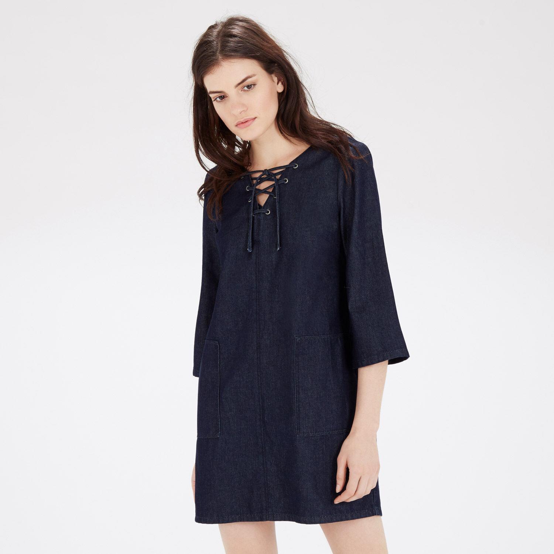 Warehouse, Lace Up Denim Dress Indigo 1