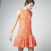 Warehouse, BONDED LACE PEPLUM DRESS Orange 1