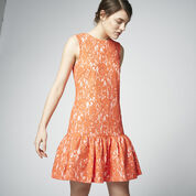 Warehouse, BONDED LACE PEPLUM DRESS Orange 1