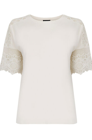 Warehouse, COTTON LACE SLEEVE TEE Cream 0