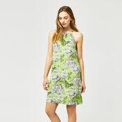 Warehouse, TIGER PRINT HALTER DRESS Green Print 2