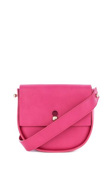 Warehouse, KEYHOLE SADDLE CROSS BODY BAG Fuchsia 0
