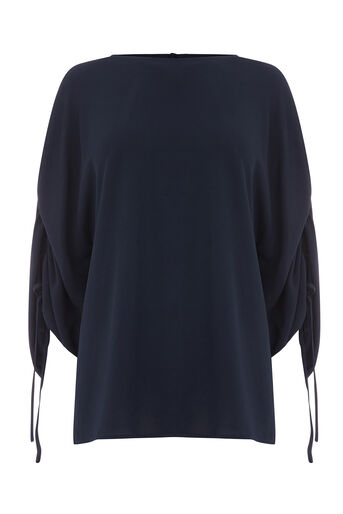Warehouse, CHANNEL SLEEVE TOP Navy 0