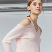 Warehouse, COLD SHOULDER V NECK JUMPER Light Pink 4