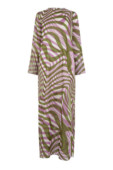Warehouse, WARP PRINT MAXI DRESS Purple Pattern 0