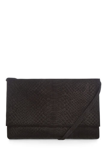 Warehouse, SUEDE EMBOSSED CROSS BODY BAG Black 0