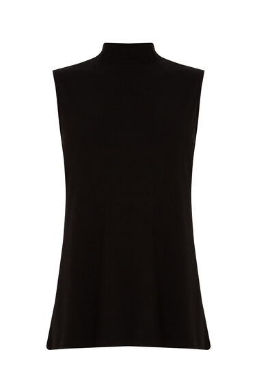Warehouse, CREPE HIGH NECK SHELL TOP Black 0