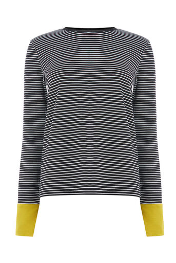 Warehouse, CONTRAST CUFF STRIPE TOP Mustard 0