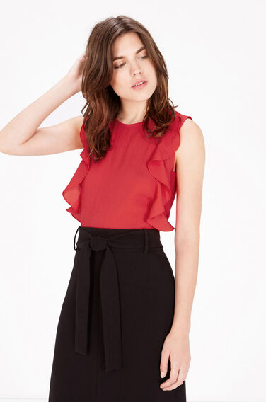Warehouse, WOVEN FRONT RUFFLE TOP Bright Red 0