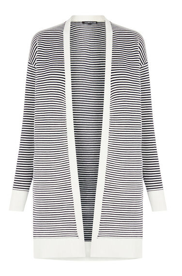 Warehouse, OTTOMAN STRIPE CARDI Black Stripe 0