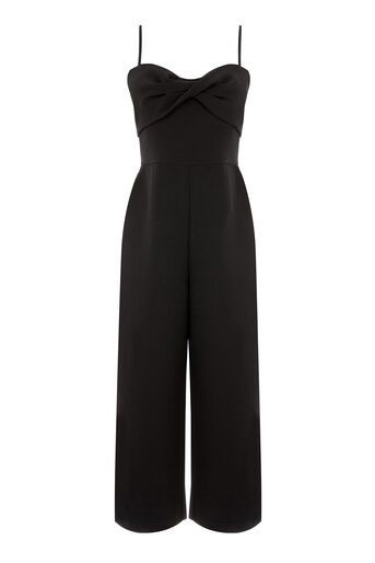 Warehouse, TWIST FRONT JUMPSUIT Black 0