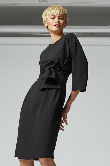 Warehouse, TIE WAIST CREPE DRESS Black 1