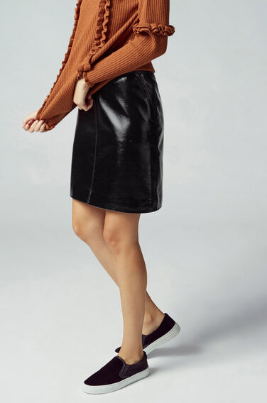 Warehouse, Patent Leather Pelmet Skirt Black 1