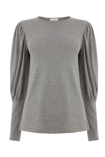 Warehouse, PUFF LONG SLEEVE TOP Dark Grey 0