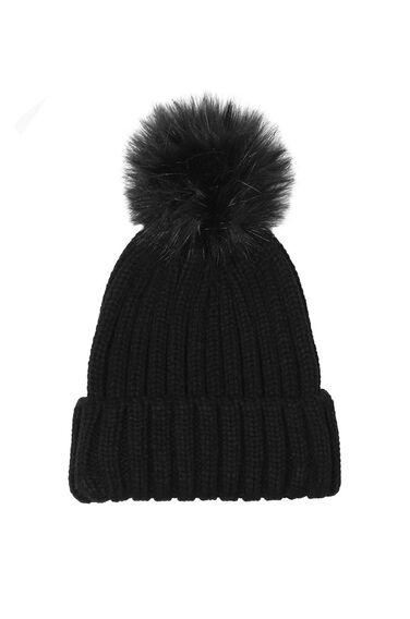 Warehouse, Faux Fur Ribbed Hat Black 0