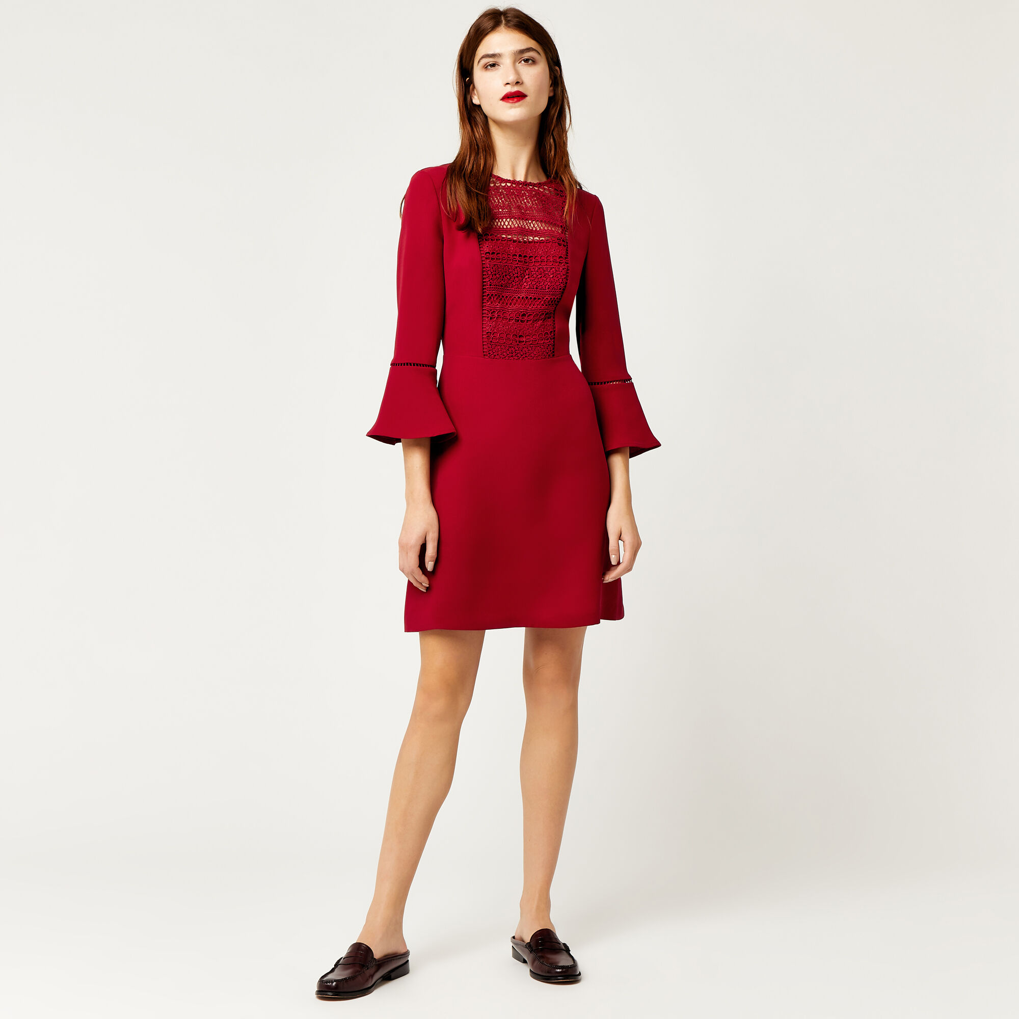 Warehouse, LACE FRONT FLUTED SLEEVE DRESS Dark Red 1