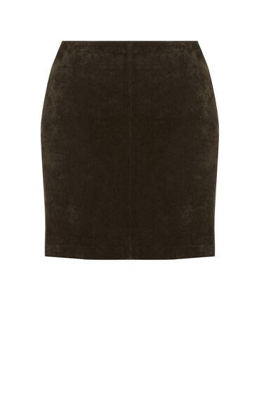 Warehouse, Suede Pelmet Skirt Khaki 0