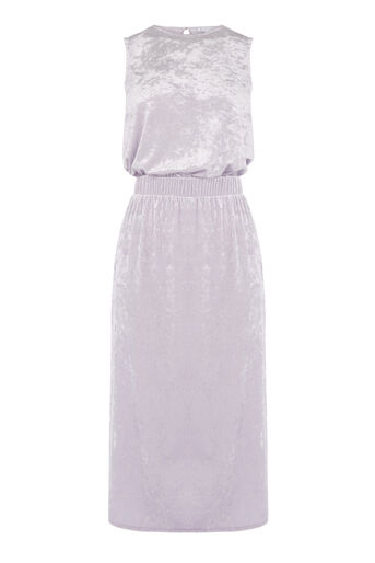 Warehouse, CRUSHED VELVET DRESS Lilac 0