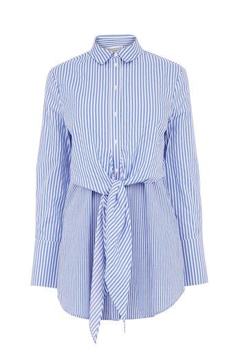 Warehouse, Gestreept shirt met knoop voor Blauw gestreept 0