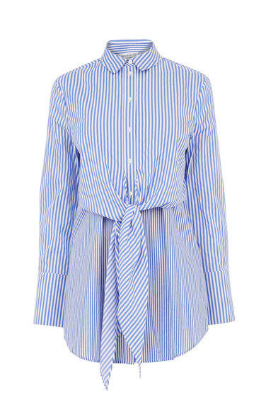 Warehouse, TIE FRONT STRIPE SHIRT Blue Stripe 0