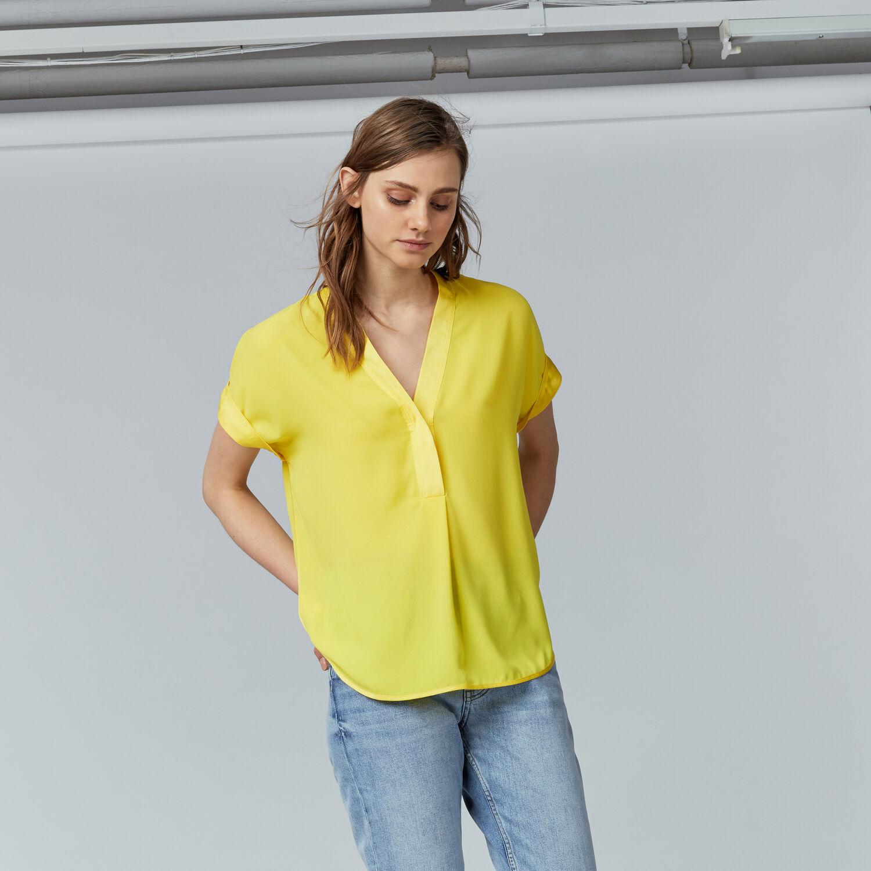Warehouse, SATIN MIX BLOUSE Yellow 1