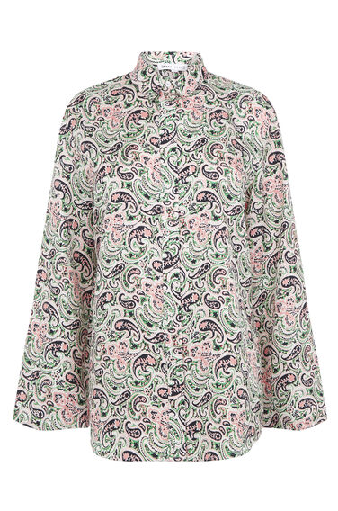 Warehouse, WOODBLOCK PAISLEY SILK SHIRT Green Print 0