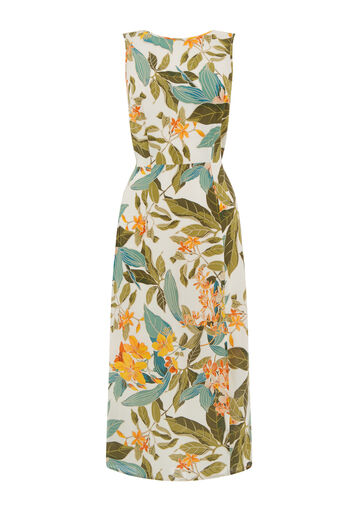 Warehouse, TROPICAL GARDEN TIE BACK DRESS Neutral  Print 0
