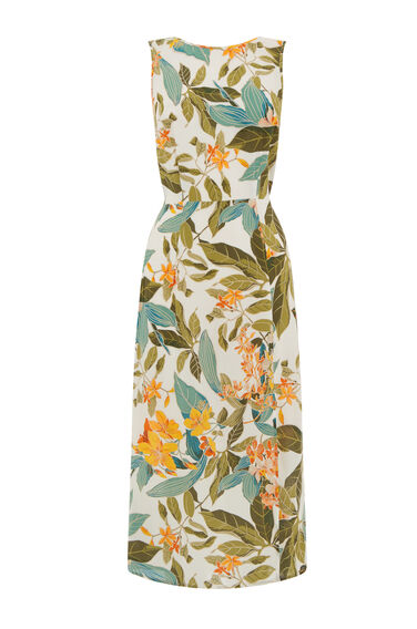 Warehouse, TROPICAL GARDEN TIE BACK DRESS Neutral  Print 0