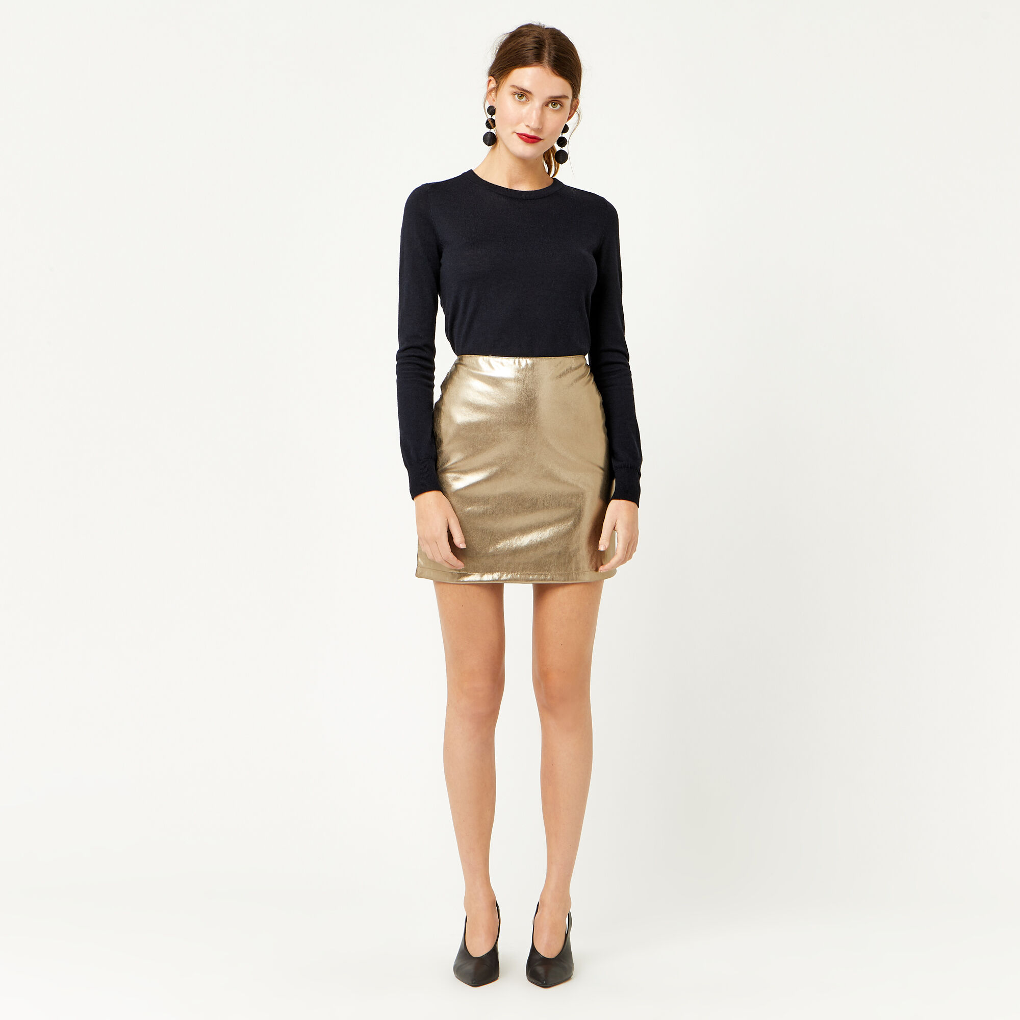 Warehouse, METALLIC FAUX LEATHER SKIRT Gold Colour 1