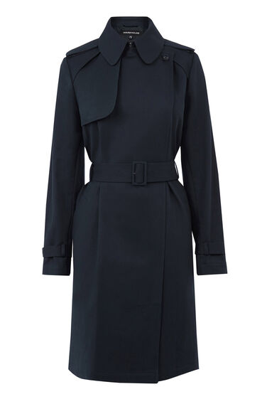 Warehouse, Clean Belted Trench Coat Navy 0