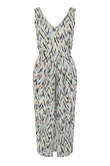 Warehouse, ZIG ZAG V NECK MIDI DRESS Green Print 0
