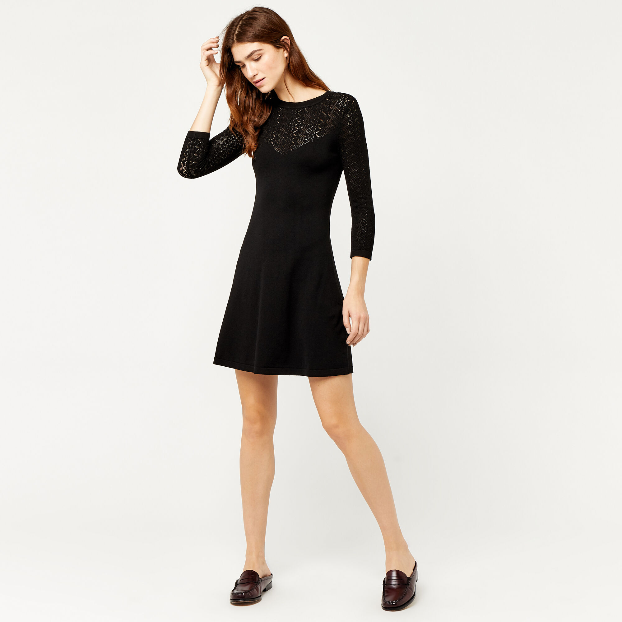 Warehouse, PRETTY STITCH YOKE KNIT DRESS Black 1
