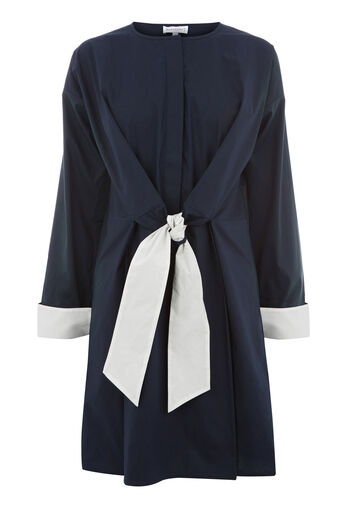 Warehouse, CONTRAST TIE COTTON DRESS Navy 0