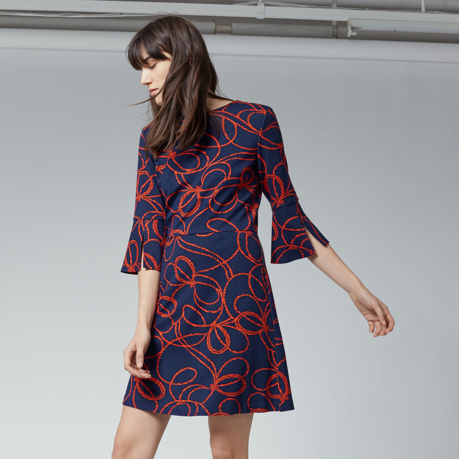Warehouse, ROPE PRINT PONTE DRESS Red Pattern 1