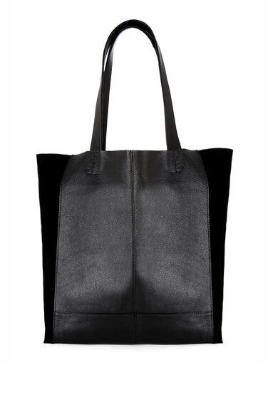 Warehouse, Leather Unlined Shopper Bag Black 0
