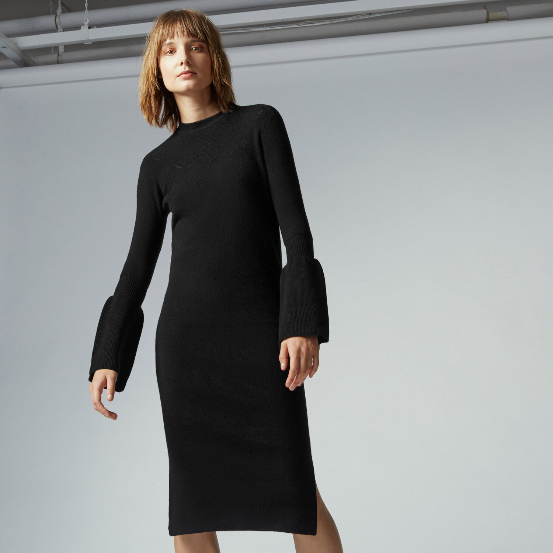 Warehouse, FLARE CUFF DRESS Black 1