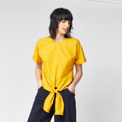Warehouse, TIE FRONT COTTON TOP Yellow 1