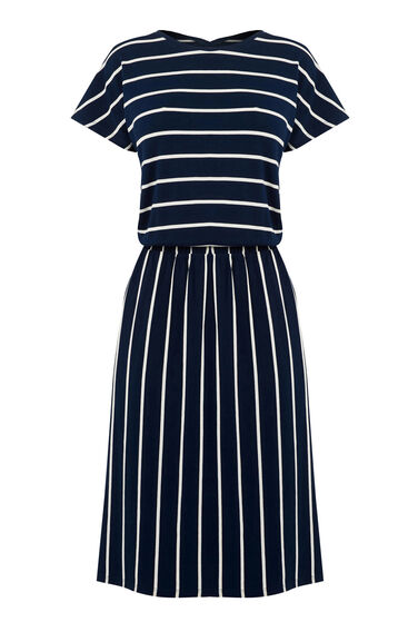 Warehouse, STRIPE T SHIRT DRESS Blue Stripe 0