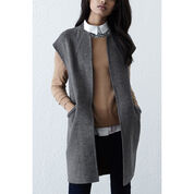 Warehouse, Sleeveless Wool Coat Light Grey 3