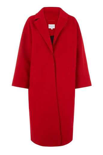 Warehouse, LONG BONDED SWING COAT Bright Red 0