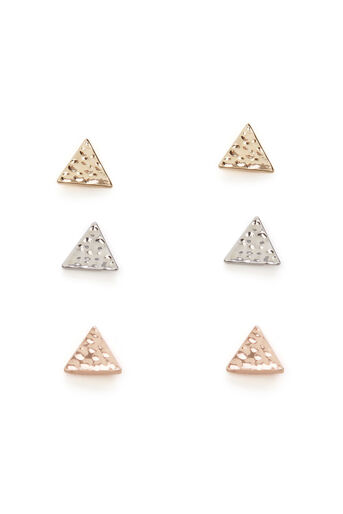 Warehouse, Lot de boucles d'oreilles triangulaires martelées Multicolore 0