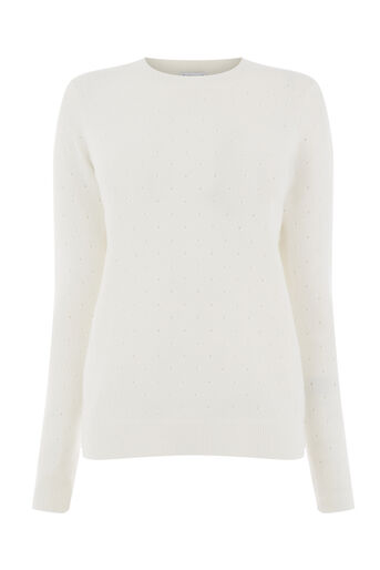 Warehouse, COSY POINTELLE JUMPER Cream 0